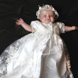 traditionelles Taufkleid Sofia mit Haarband